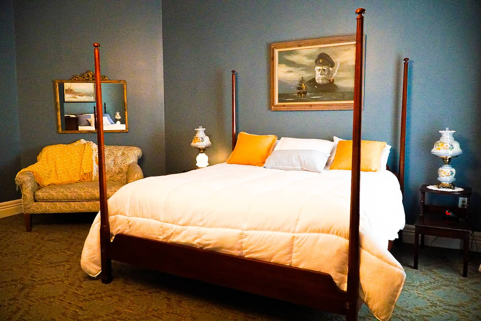 One of the beds inside the Osborne Room of the Historic Hotel Broadalbin.