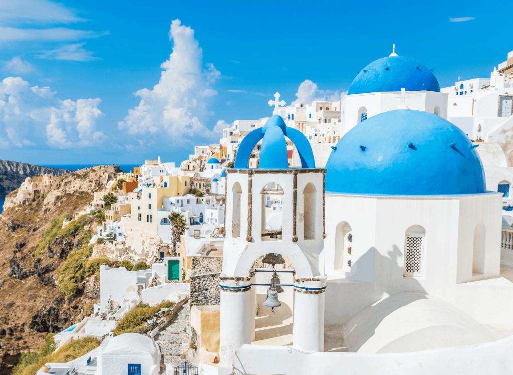 A beautiful view of Santorini in Greece.