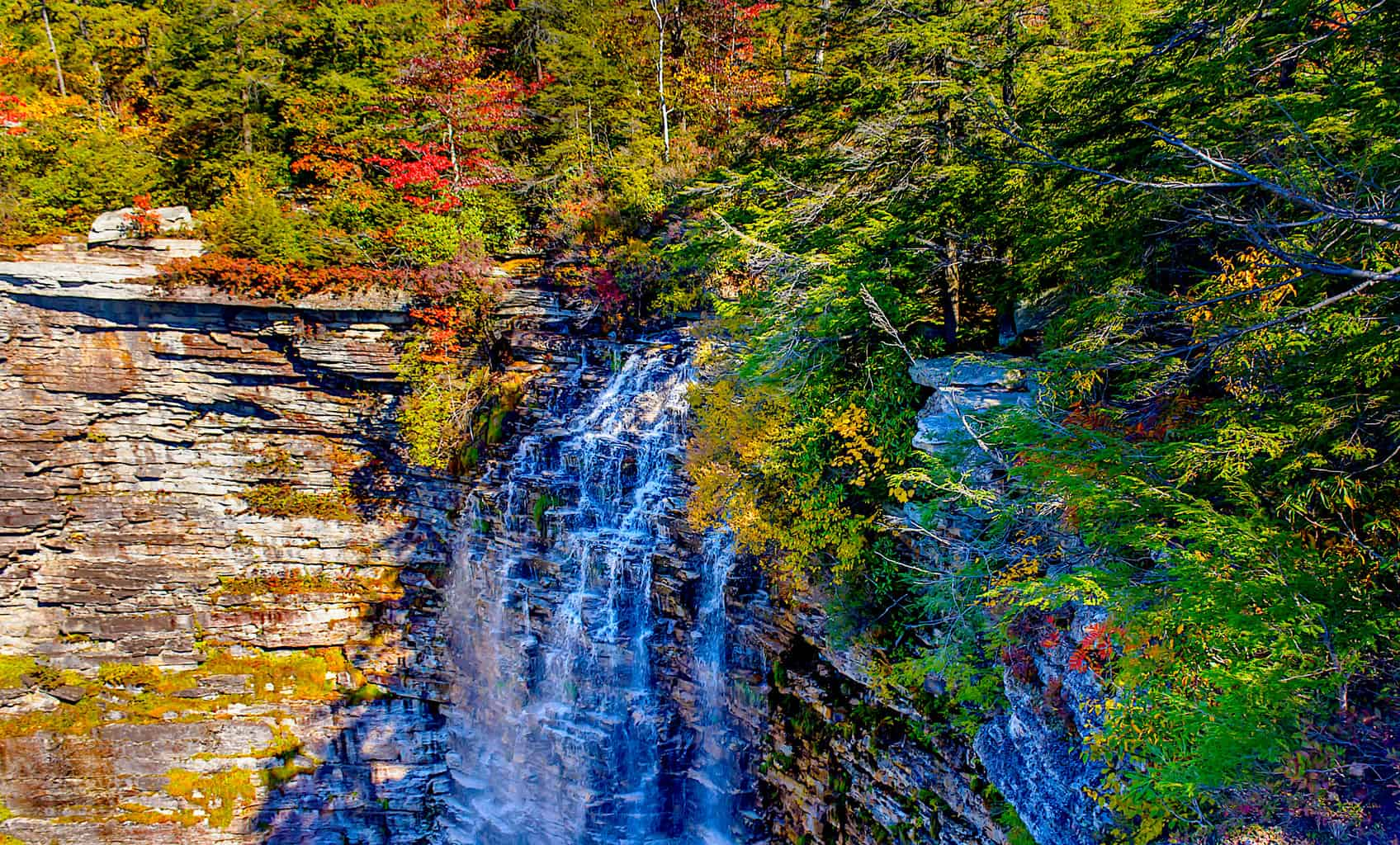A view of Verkeerderkill Falls in the fall. Image sourced from Jim Hall on Flickr.com.