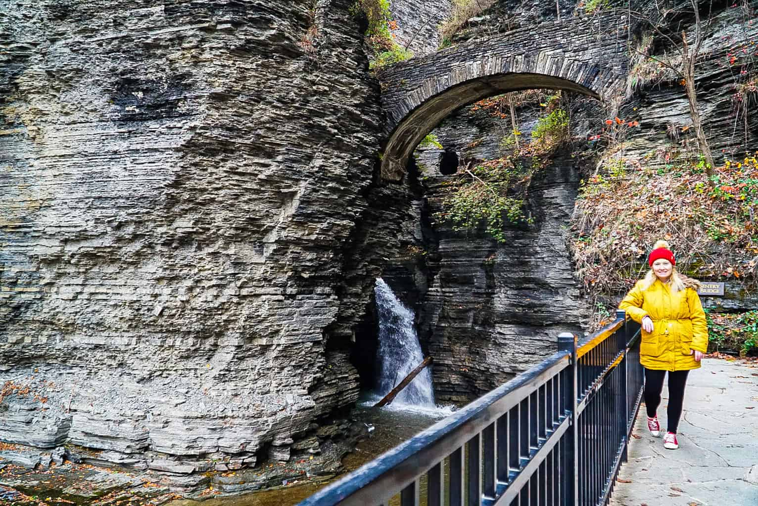 Me standing in front of the natural waterfall and stone bridges of Watkins Glen.