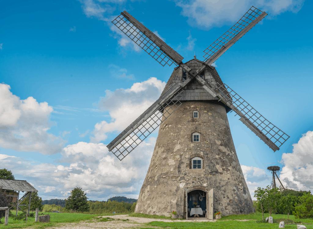 A traditional stone windmill in Vidzeme, Latvia.