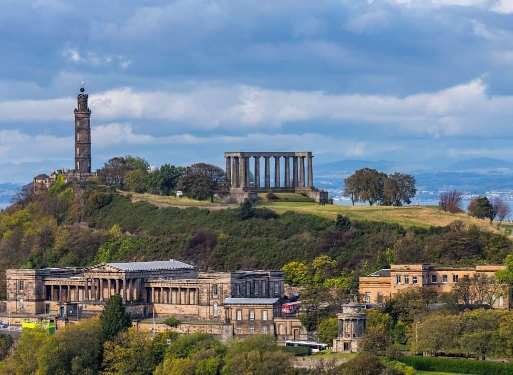 An aerial view of the National Monument of Scotland, which sits atop Calton Hill in Edinburgh.