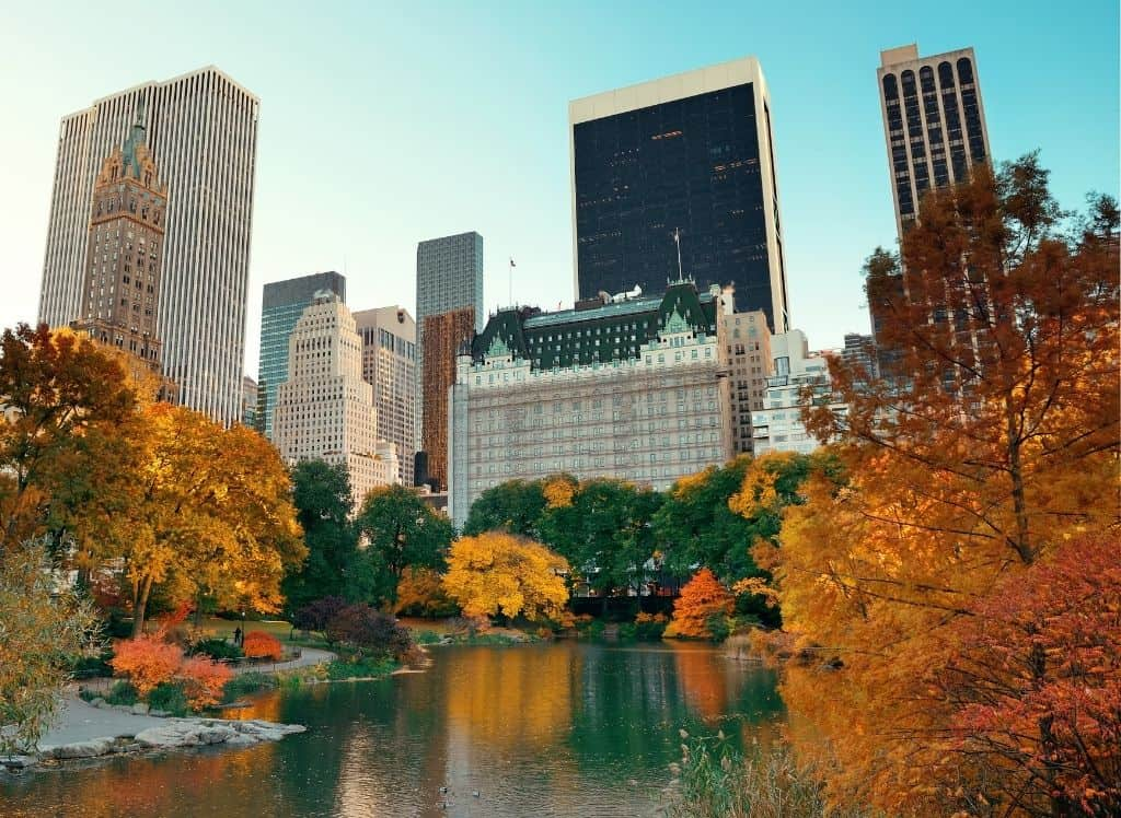 An iconic view of Central Park in the fall.
