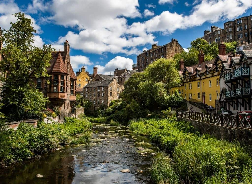 The fairy-tale-like Dean Village in Edinburgh.
