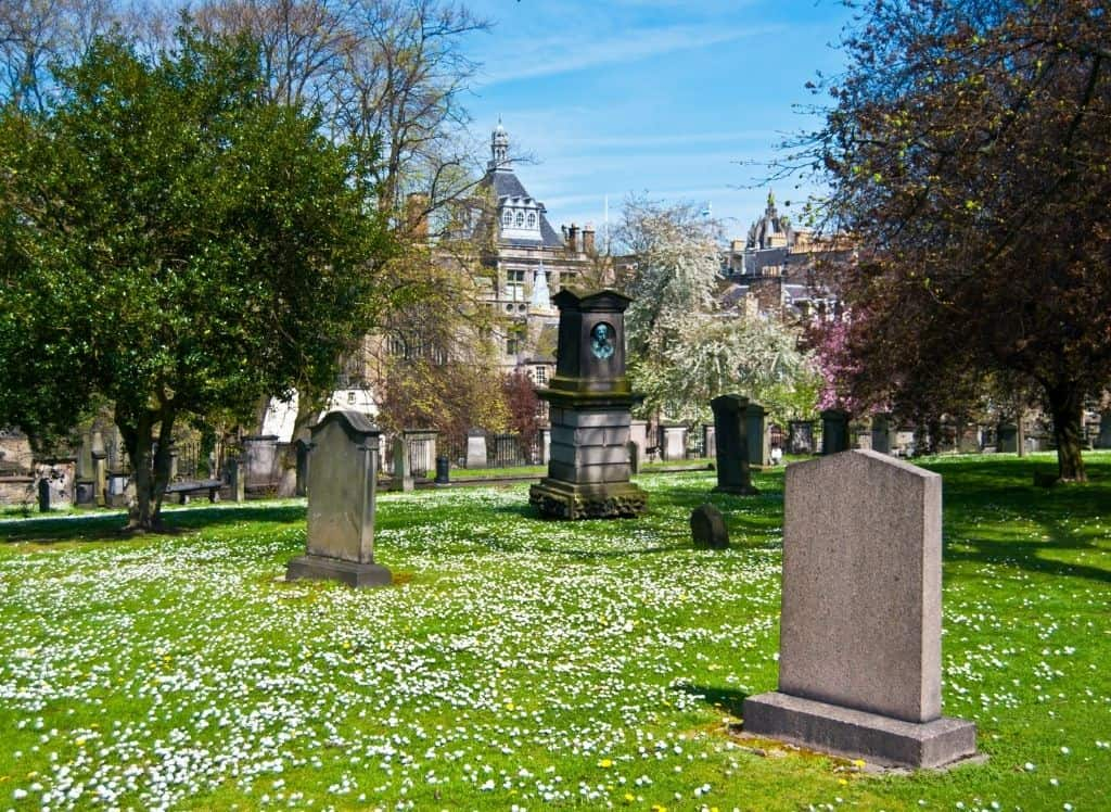 A beautiful view of Greyfriar's Kirkyard in Edinburgh.