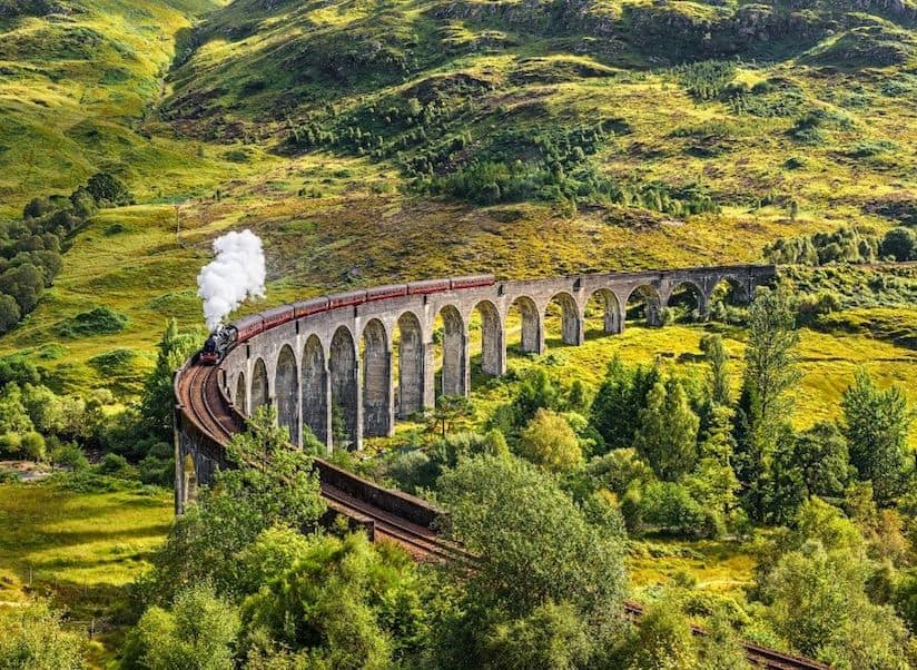 An aerial view of the Hogwarts Express in Scotland.