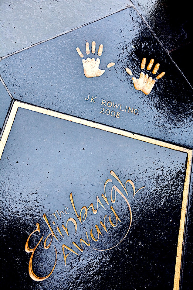 Hand prints of J.K. Rowling on a flagstone in the City Chambers Quadrangle in Edinburgh.