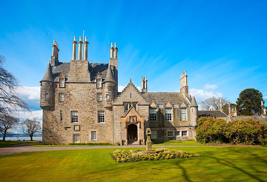 A front view of the sprawling grounds of Lauriston Castle near Edinburgh.