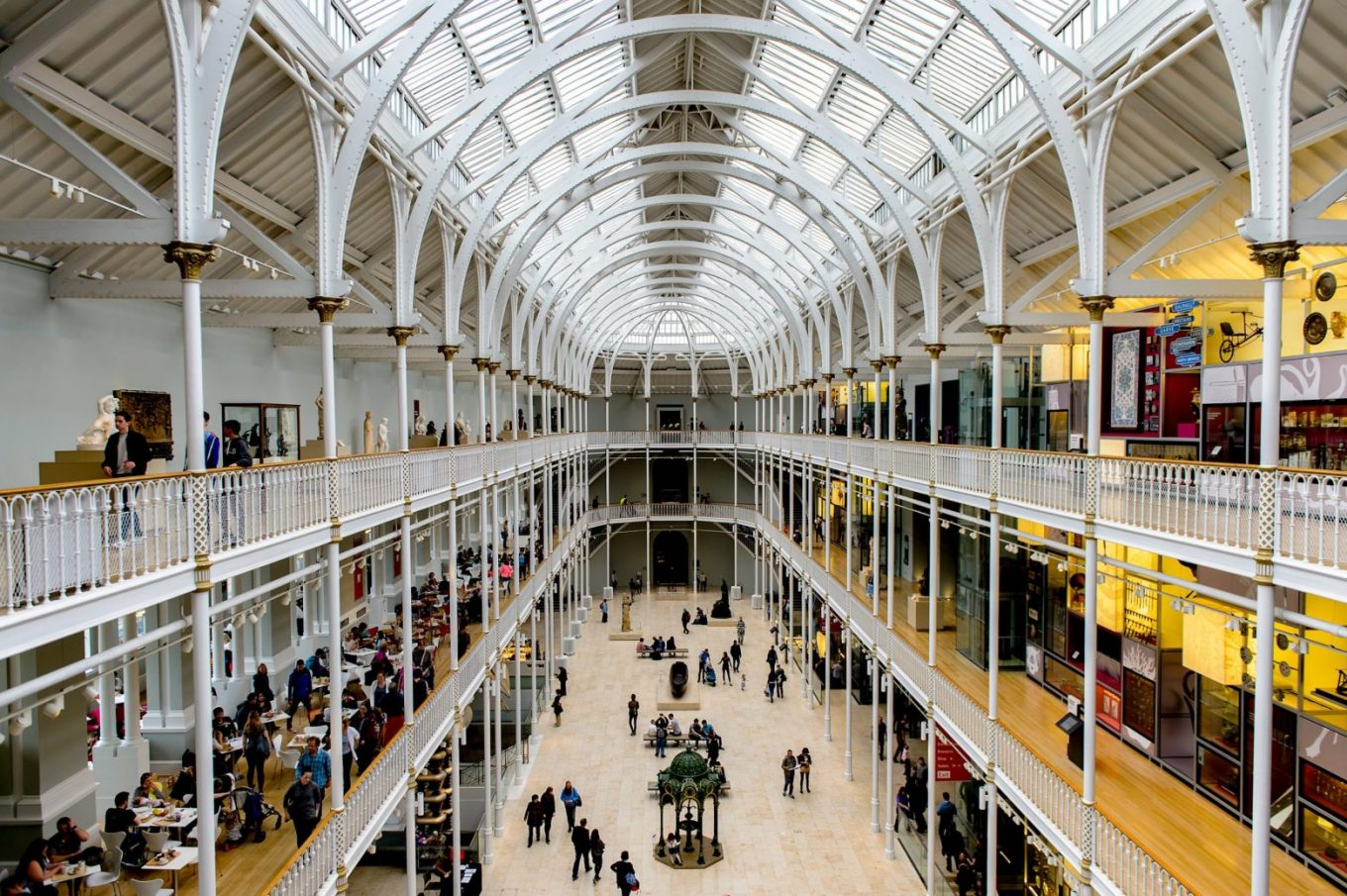 The open and airy Grand Gallery of the National Museum of Scotland.
