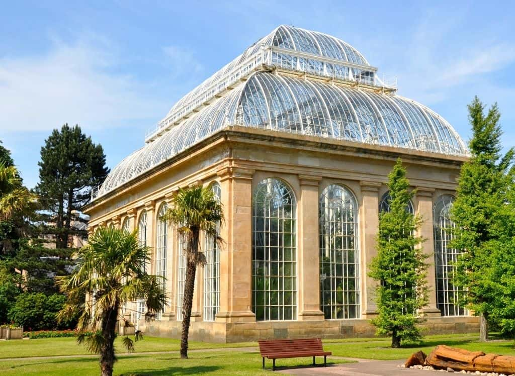 Some of the beautiful glass-roofed buildings you'll find at the Royal Botanic Gardens, one of the most famous landmarks in Edinburgh.
