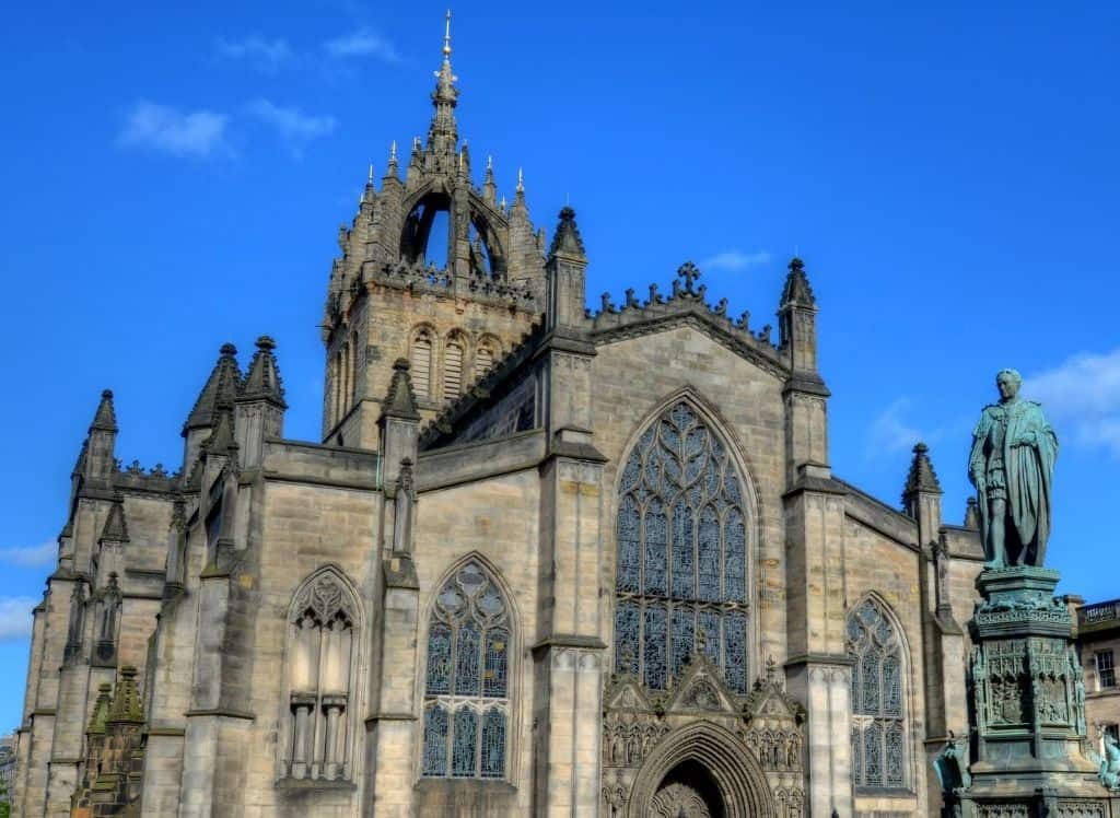 The ornate exterior of St. Giles Cathedral in Edinburgh.