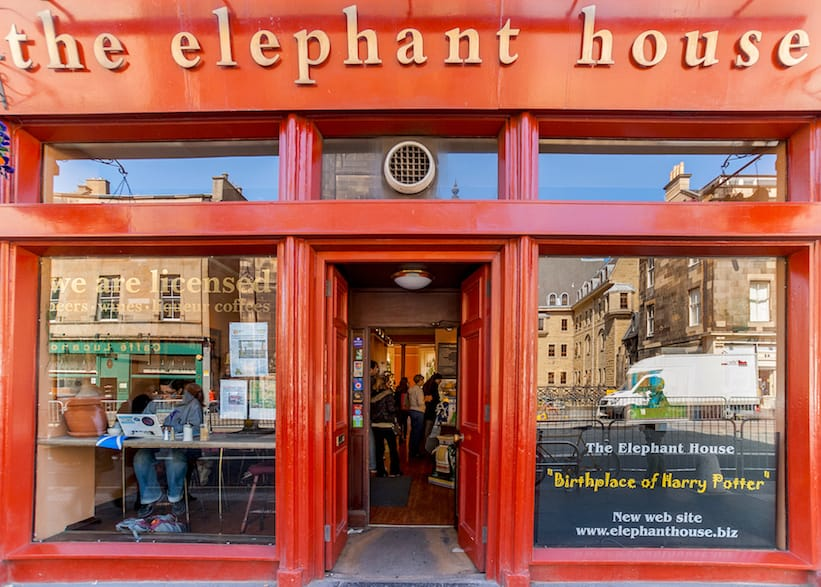 The red facade of the Elephant House, Tea and coffee shop, and the birthplace of Harry Potter.