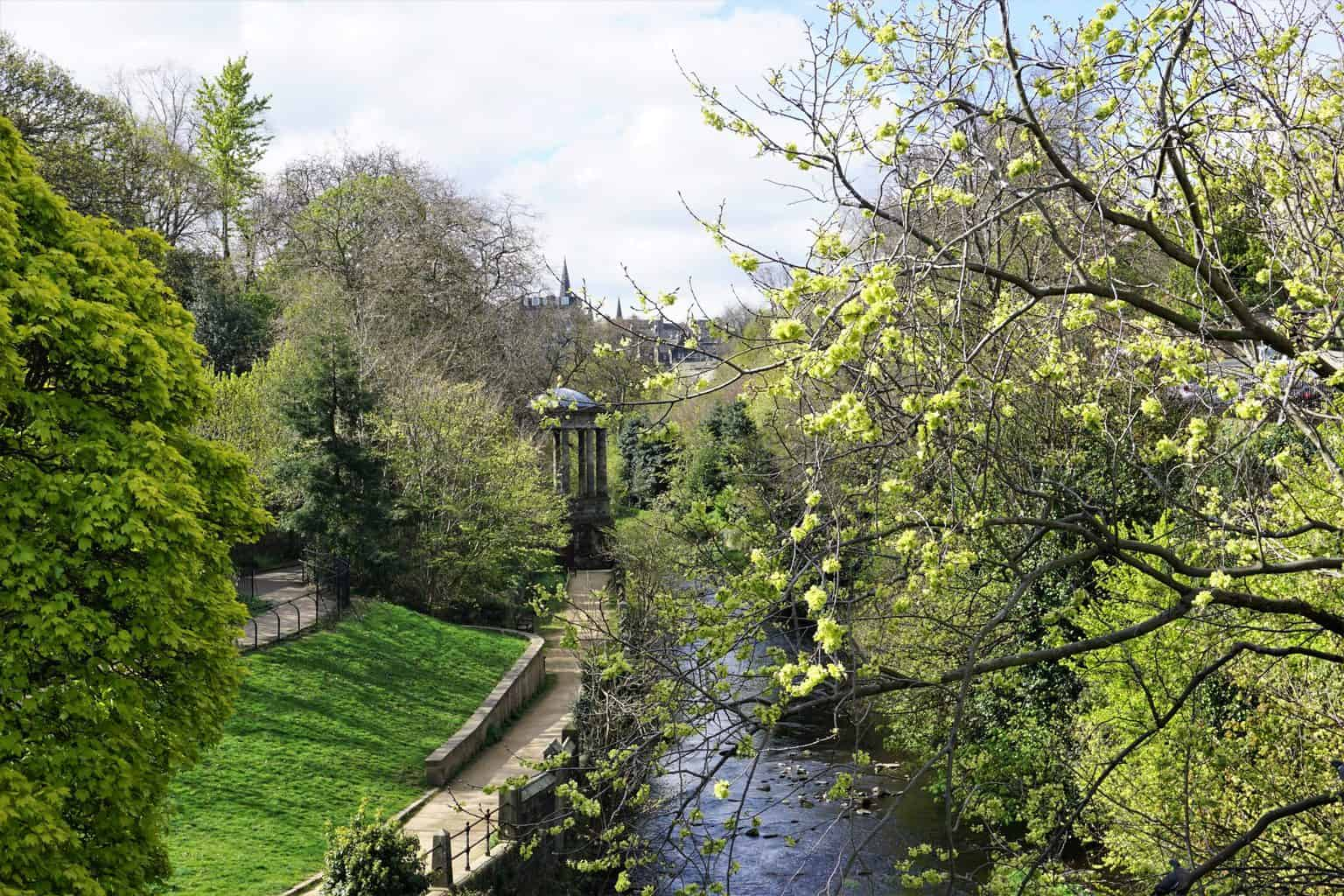 An aerial view of the Water of Leith Walkway in Stockbridge.
