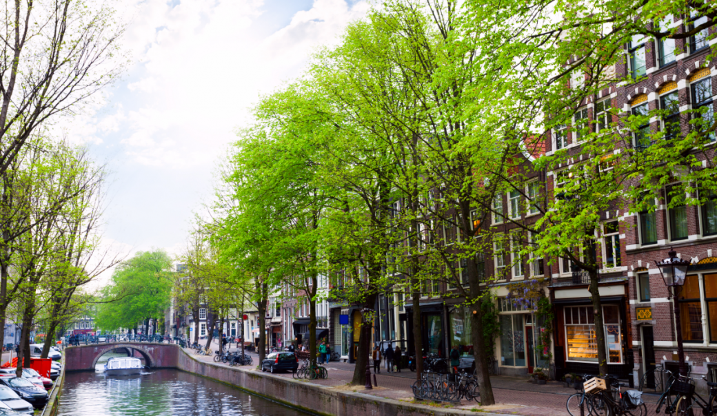 Amstel Street along the river in Amsterdam.