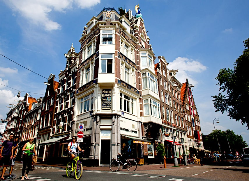 The picturesque houses along Haarlemmerstraat in Amsterdam.