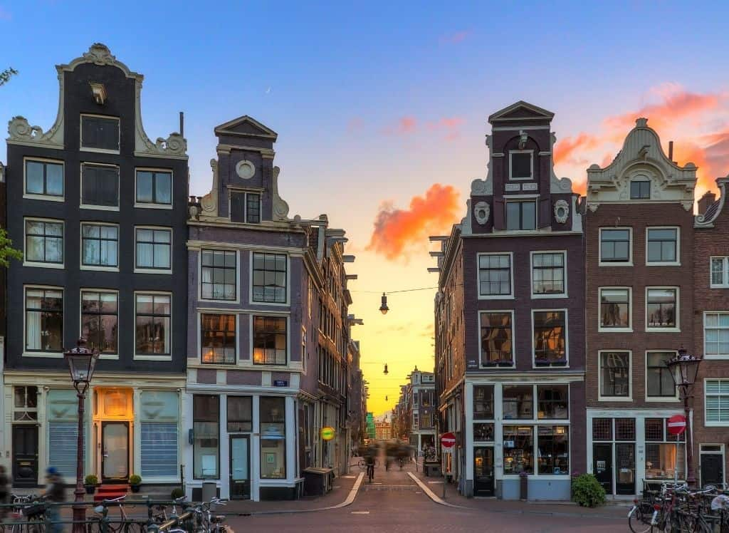 The sun setting in the picturesque nine streets area of Amsterdam.