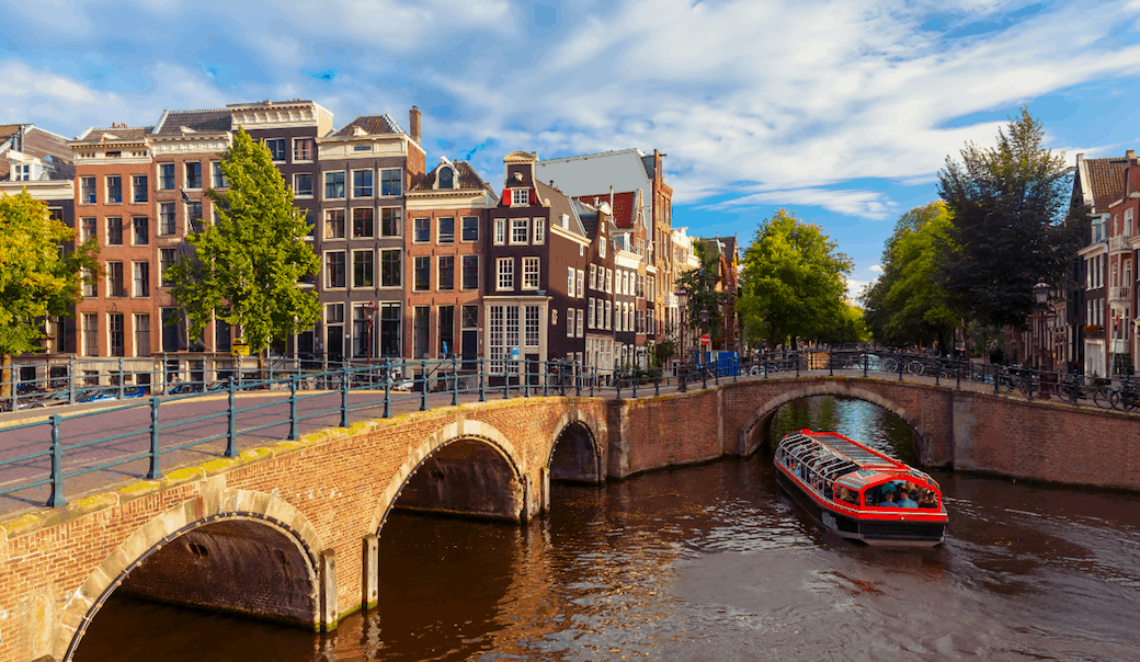 The bridges, canals, and lovely houses that line Reguliersgracht in Amsterdam.