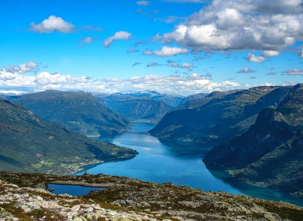 An aerial view of Sognefjord , one of the most beautiful places in Norway
