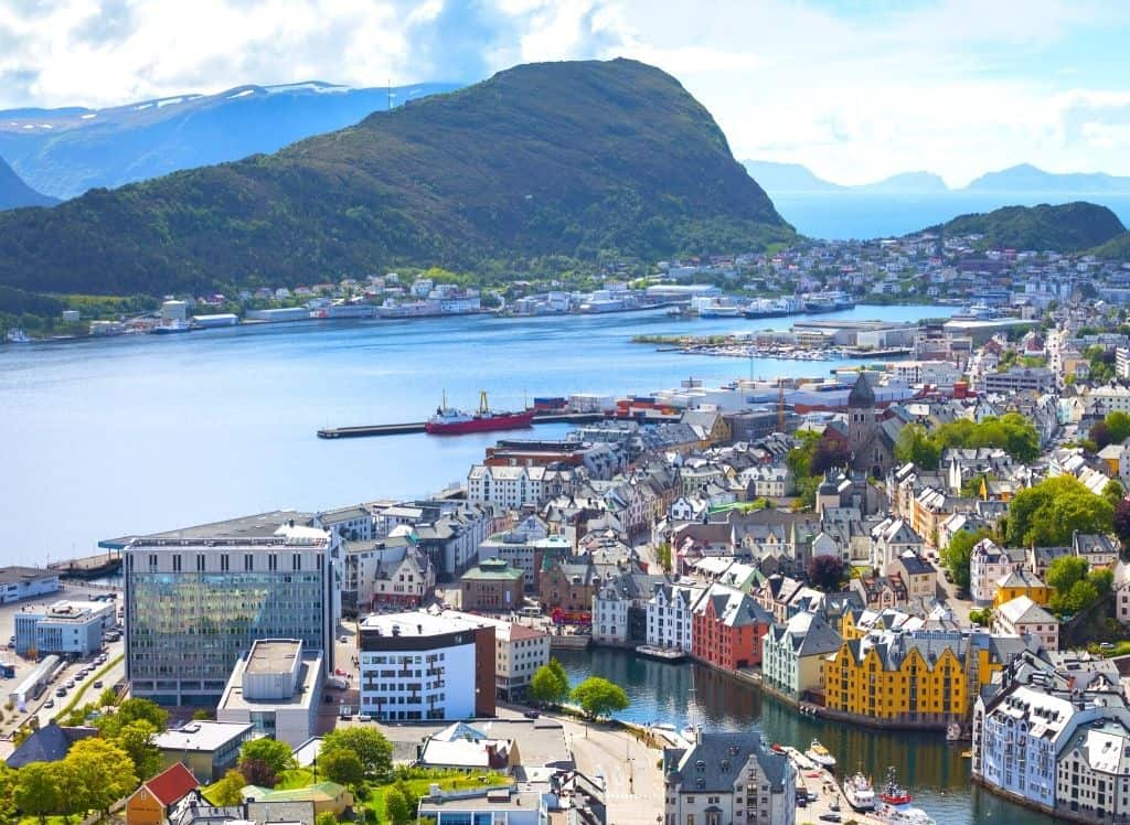 Panoramic, aerial views of Alesund fishing village which sits along the coast of Western Norway.