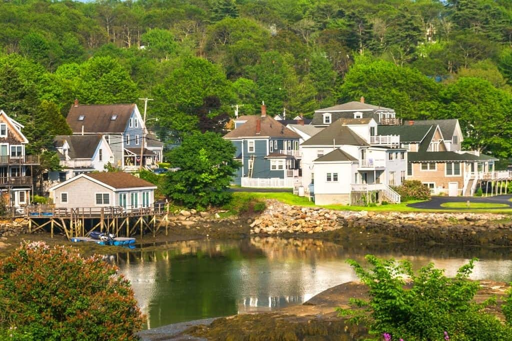 Some of the homes that line the quiet waters of Boothbay Harbor, Maine.