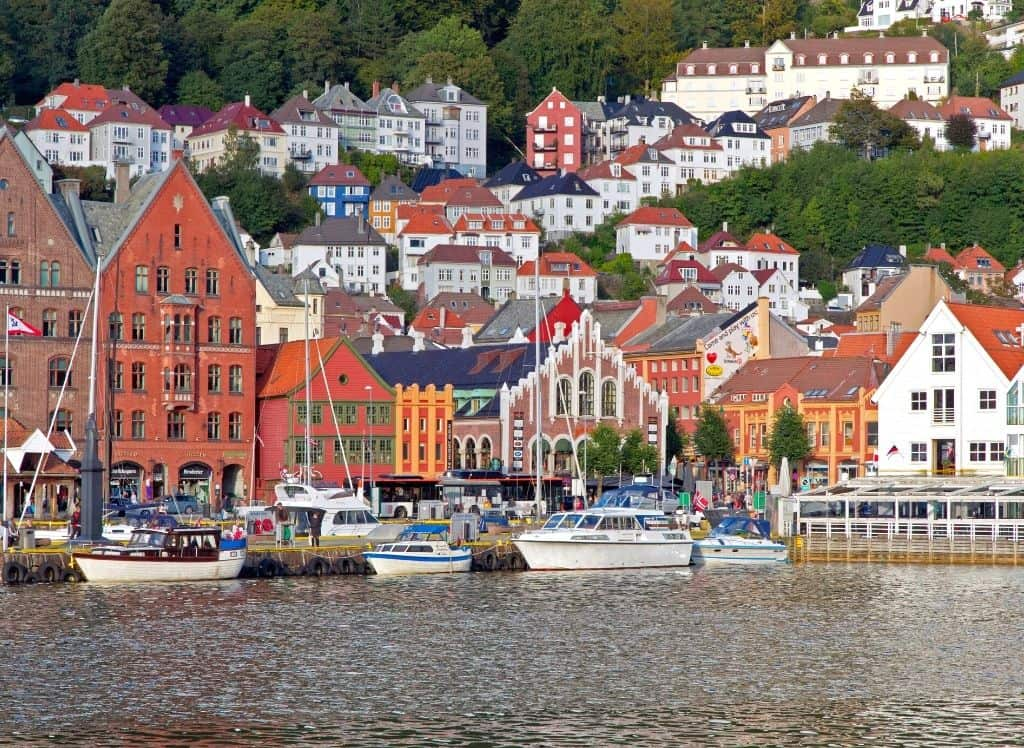 The vibrant buildings that line the Hanseatic Wharf in Bergen.