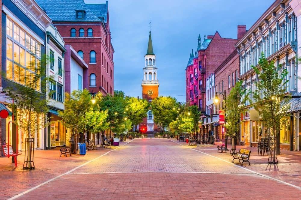 Pedestrian walkways in downtown Burlington, Vermont.