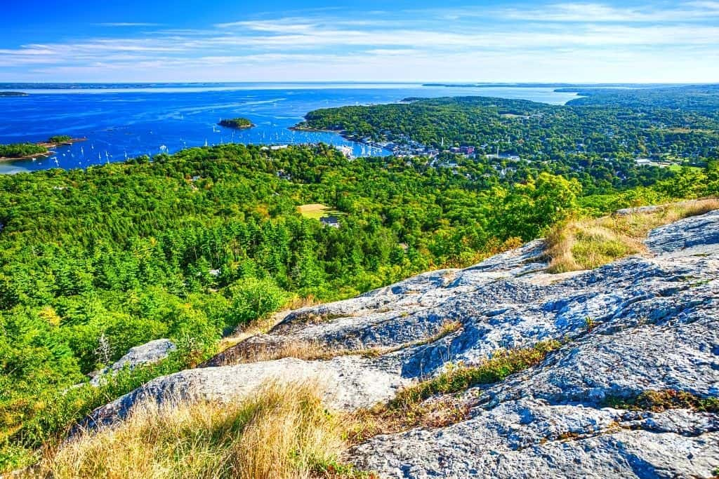 An aerial view of Camden, Maine from a nearby mountain.