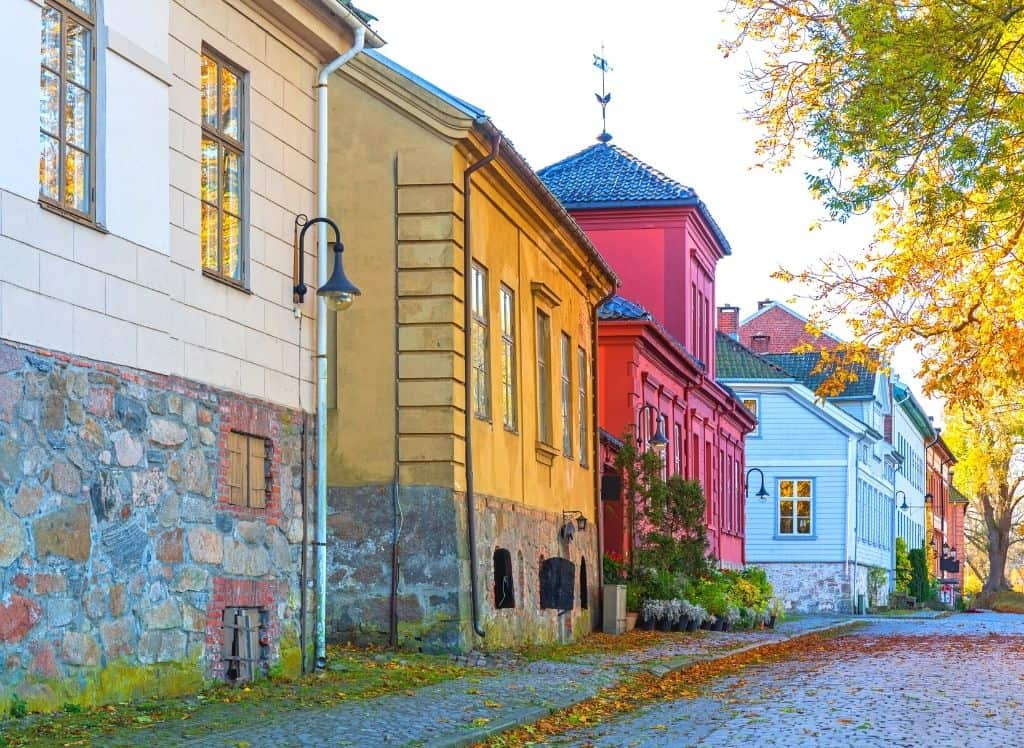 Some of the historic, colorful homes you'll find lining the streets of Fredrikstad in Norway.