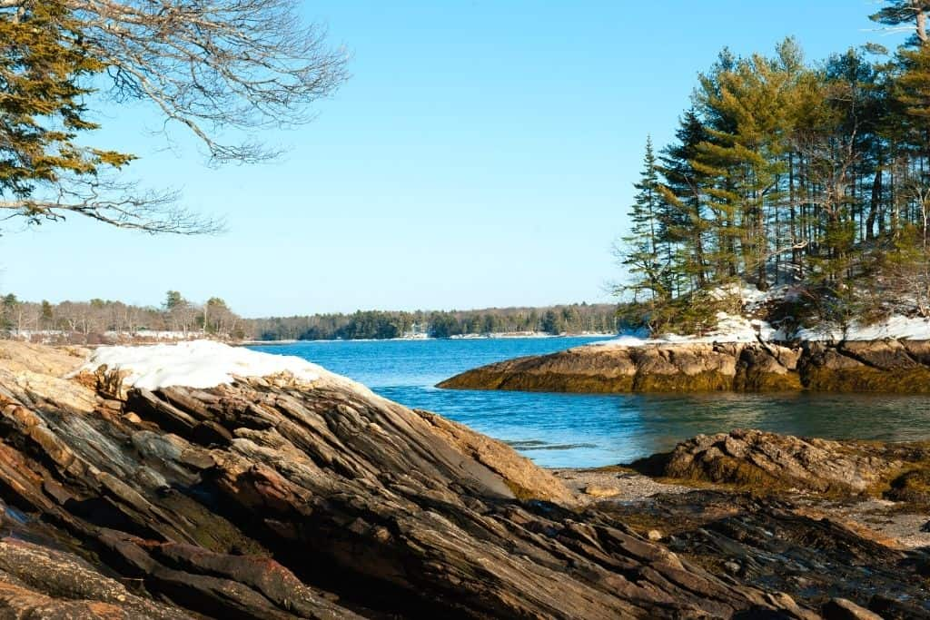 Views from Wolfe's Neck State Park in Freeport, Maine.