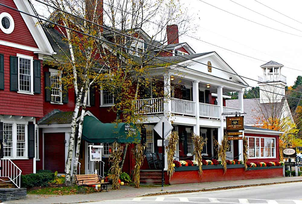 The beautiful red exterior of the green mountain inn in downtown Stowe, Vermont.