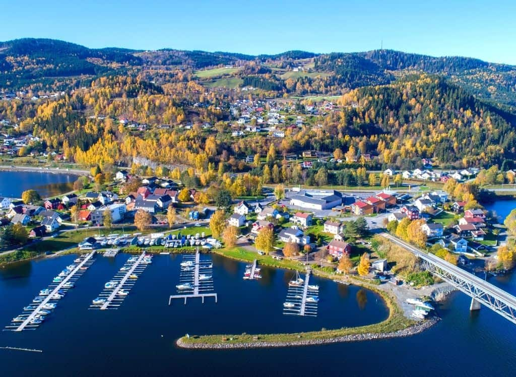 An aerial view of Lillehammer, Norway in the summer.