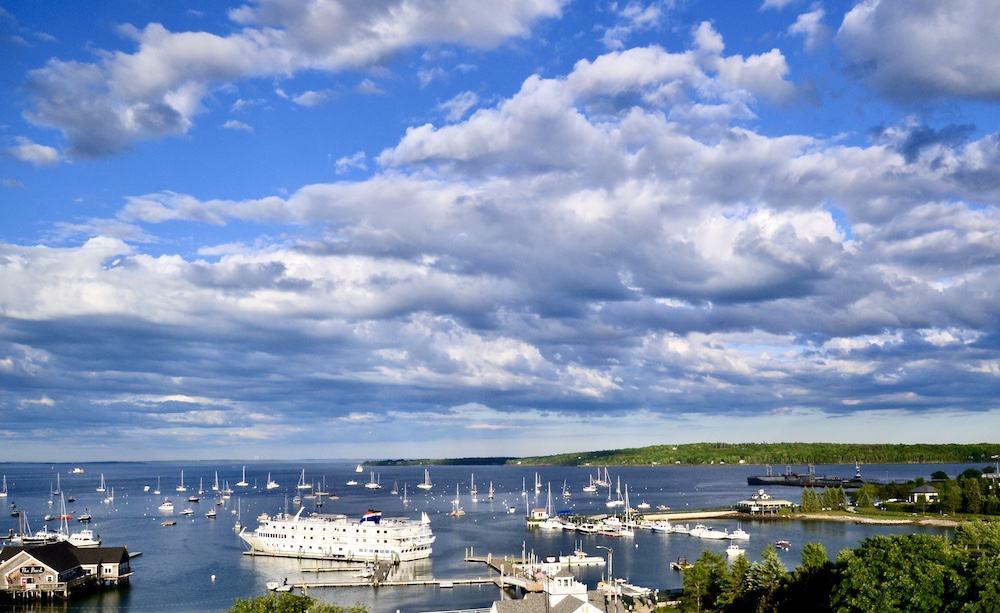An aerial of the ships that dot the harbor in Rockland, Maine.