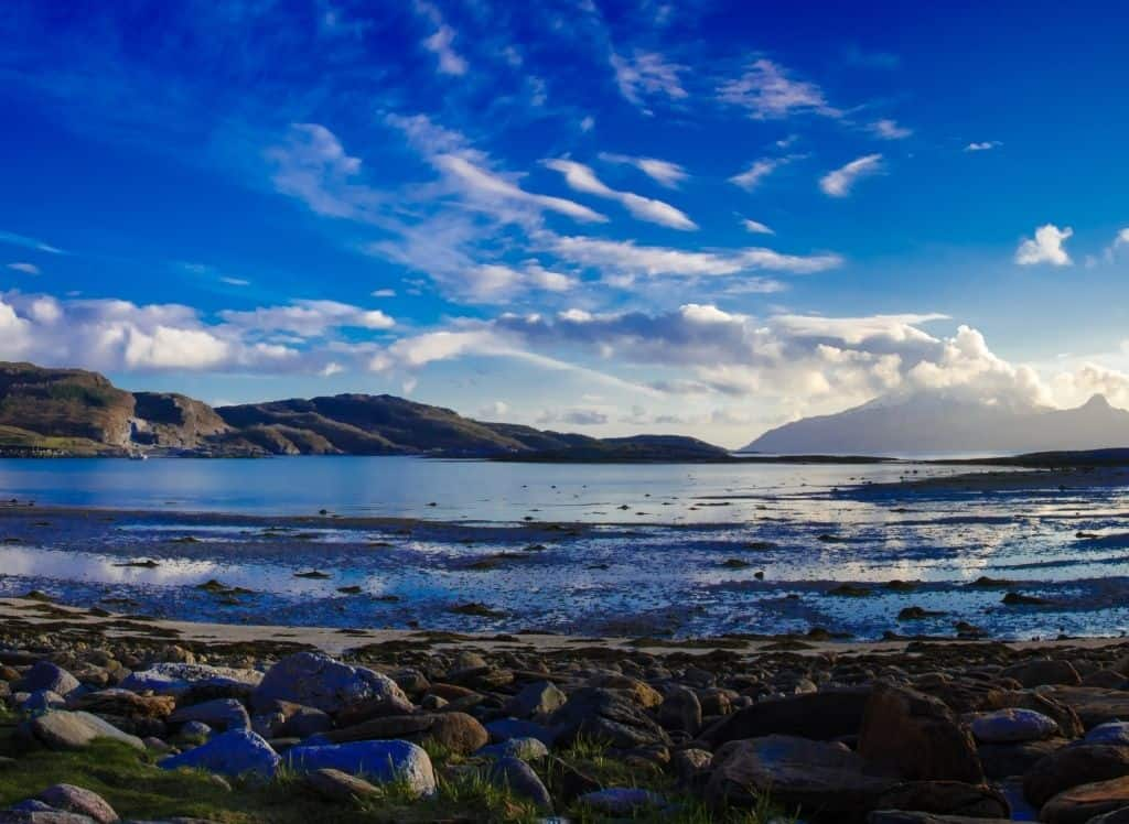 The rocky shores of Mjelle Beach in northern Norway.