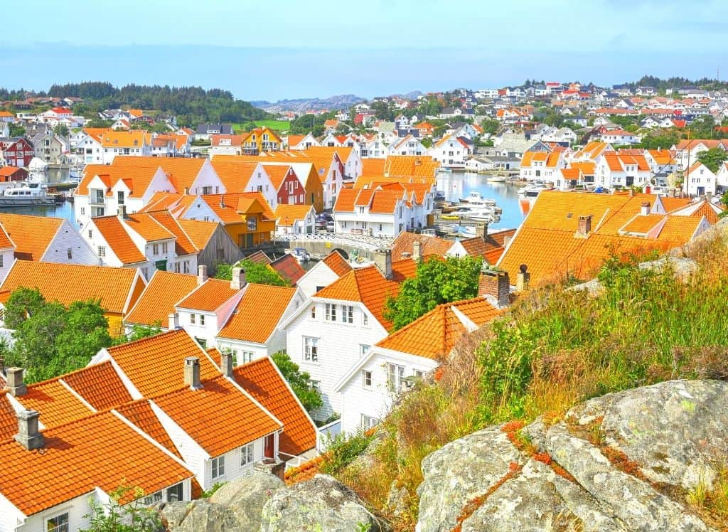 Some of the beautiful white homes you'll find in Skudeneshavn, Norway,