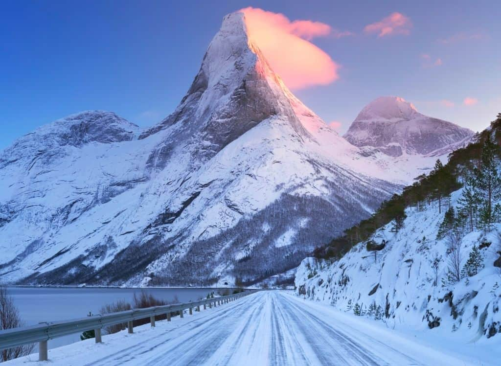 Stetind Mountain in northern Norway at sunrise.