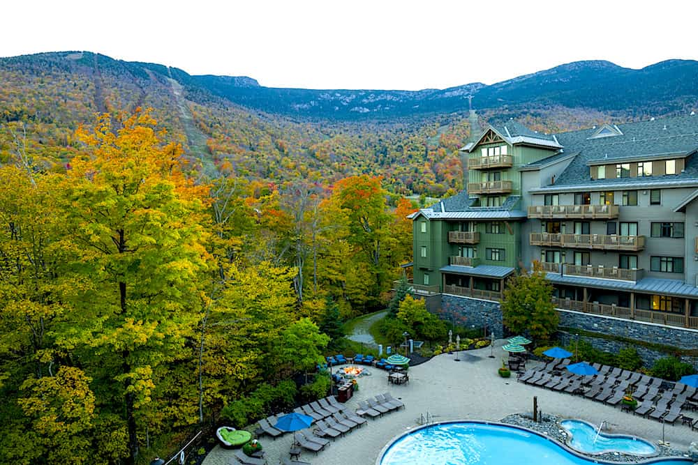 Beautiful views of fall foliage from the Lodge at Spruce Peak in Stowe, Vermont.
