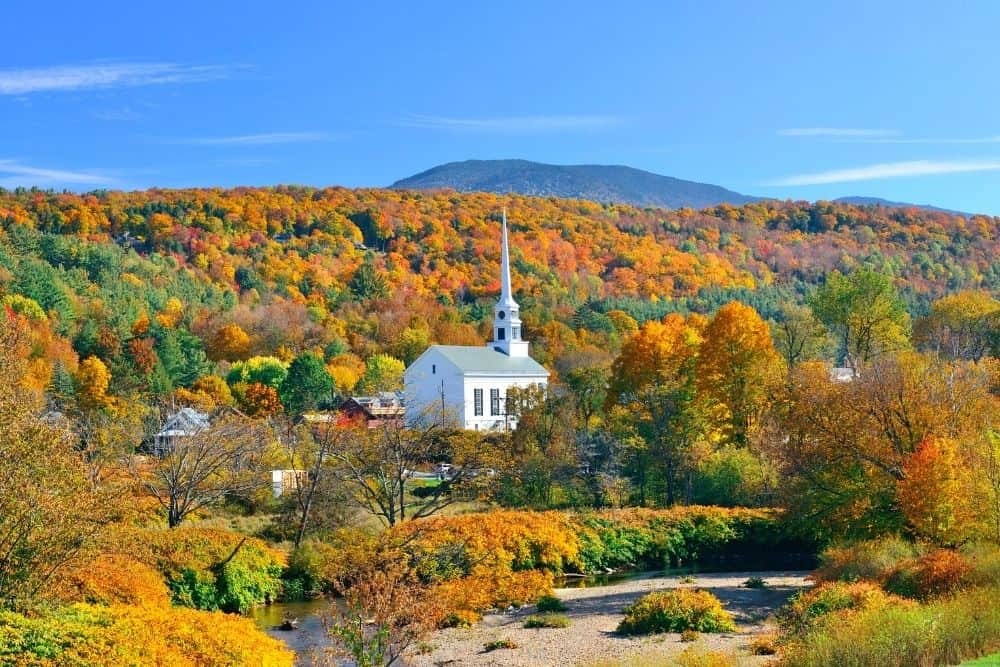 Beautiful fall foliage in Stowe, Vermont.