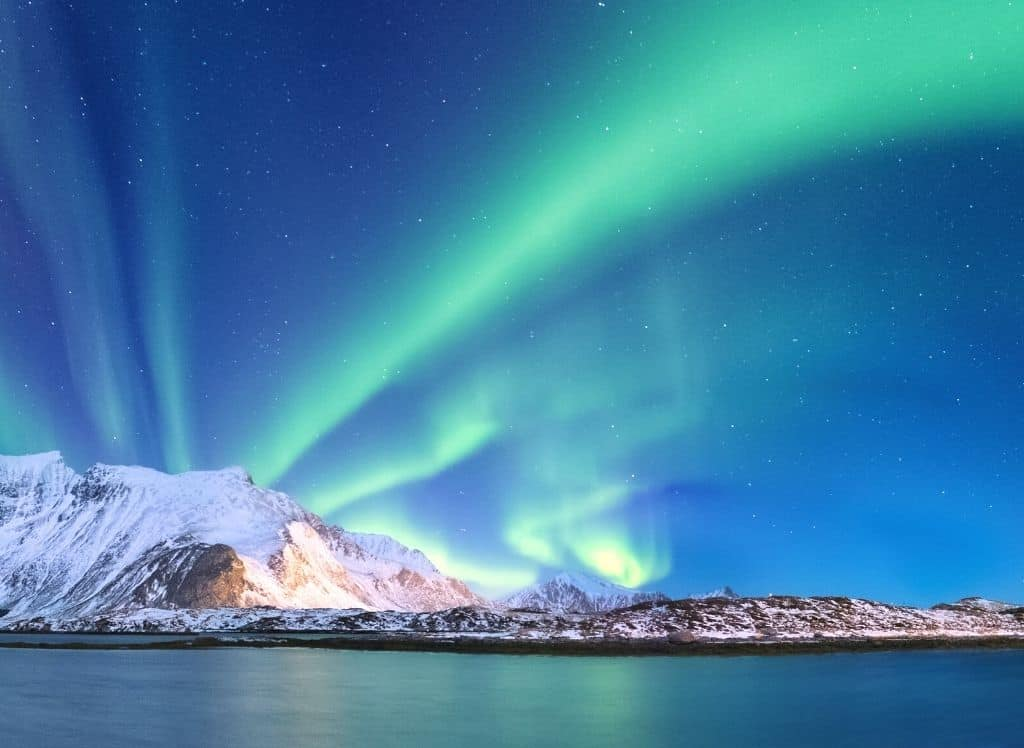The vibrant northern lights above Tromso, Norway