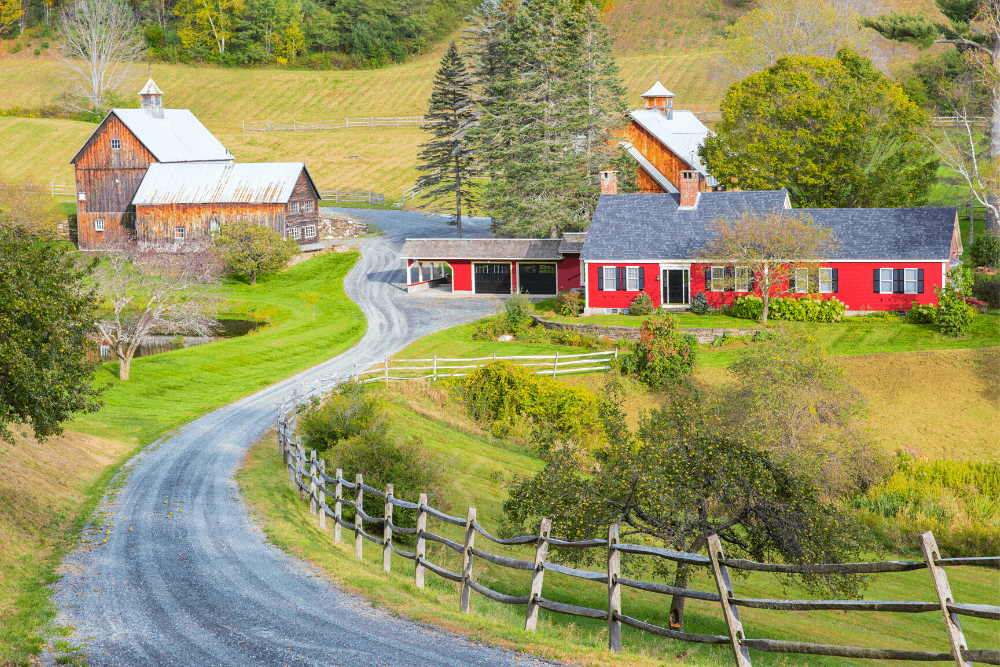 Charming countryside views in Woodstock, Vermont.