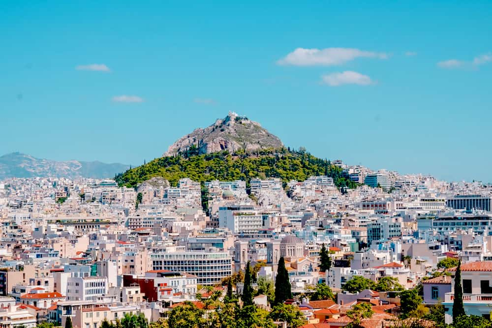 An aerial view of Athens, Greece.