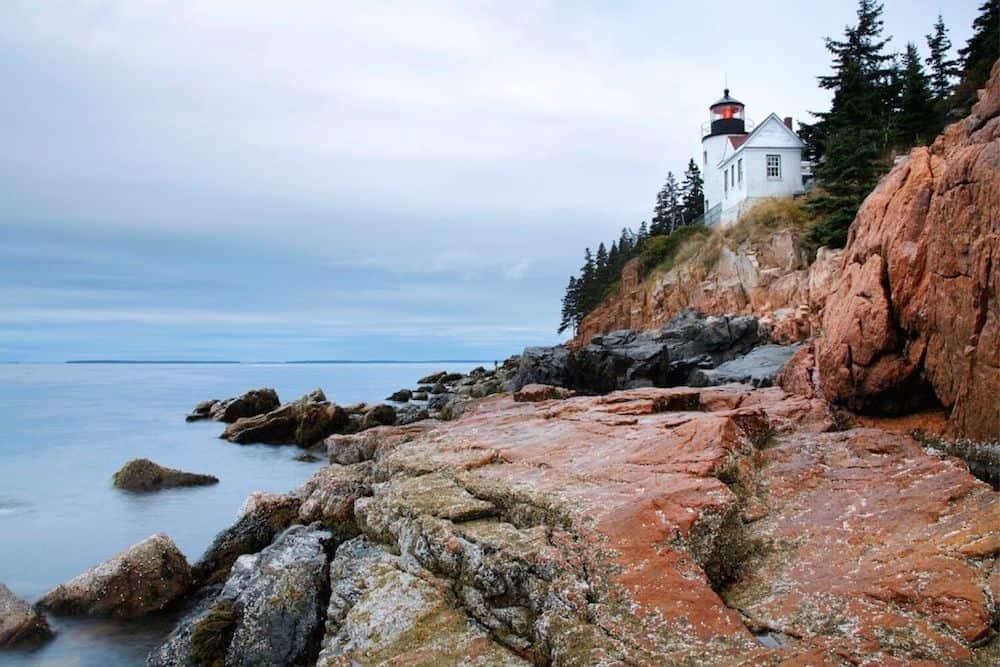 Bass Harbor Head Lighthouse along the coast in Acadia National park.