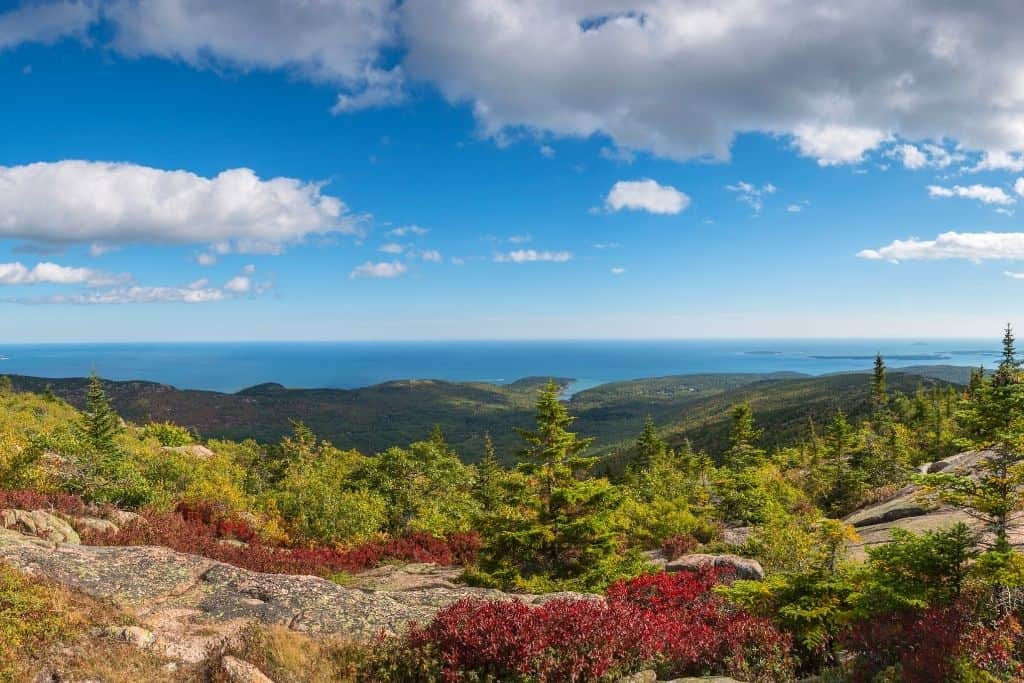 Views from the summit of Cadillac Mountain in Acadia National Park.