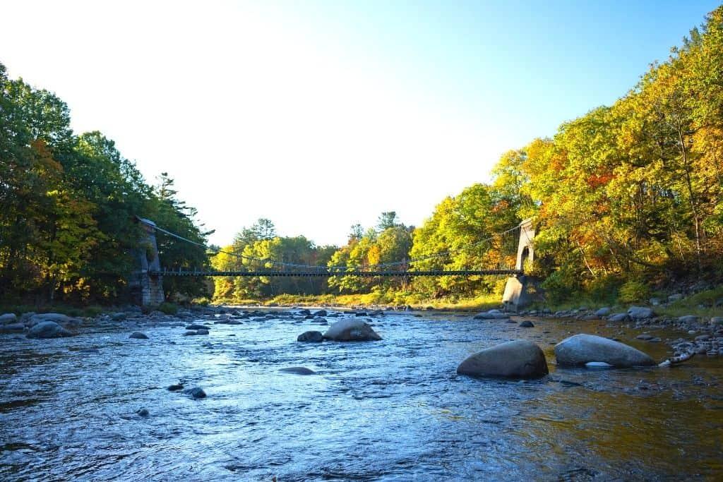 A bridge over the Carrabassett River in Maine.