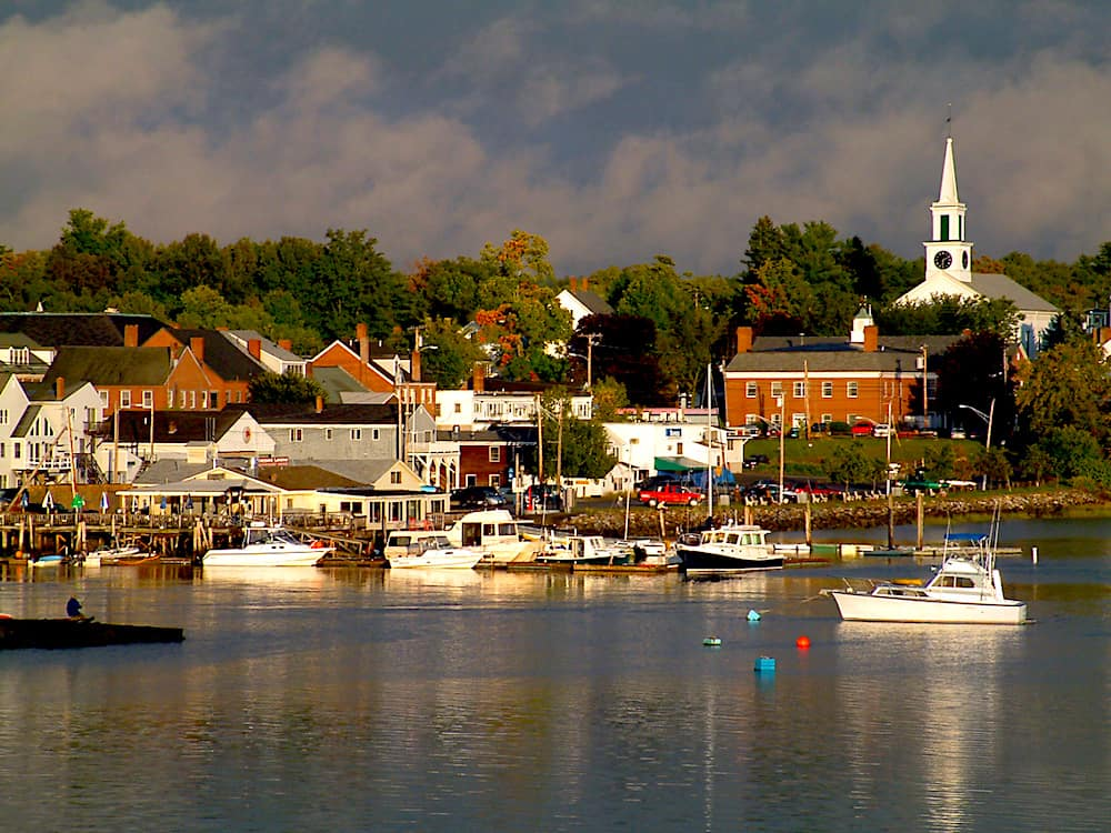 A view of the fishing village of Damariscotta, Maine. It's one of the best beach towns in Maine.