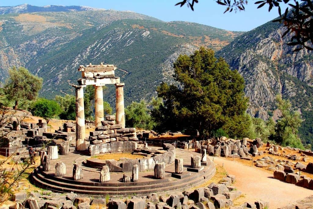Ancient ruins at Delphi, one of the most beautiful places in Greece.