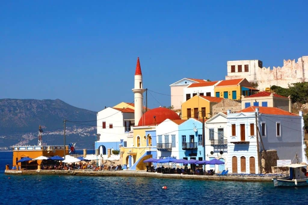 Some of the colorful homes that line the shores of Kastellorizo, Greece.