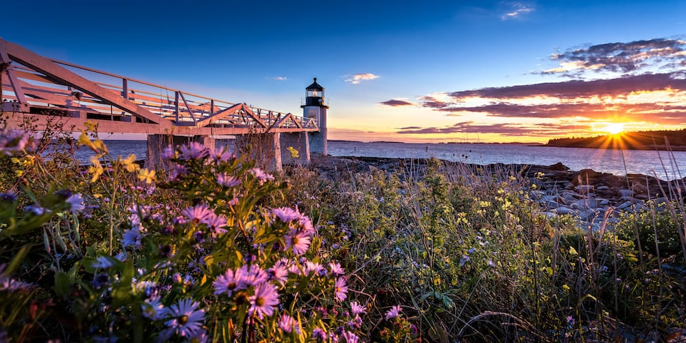 The Marshall Point Light during sunset.