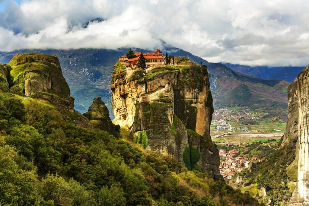 The rolling hills of Meteora with monasteries perched high atop these mountains.