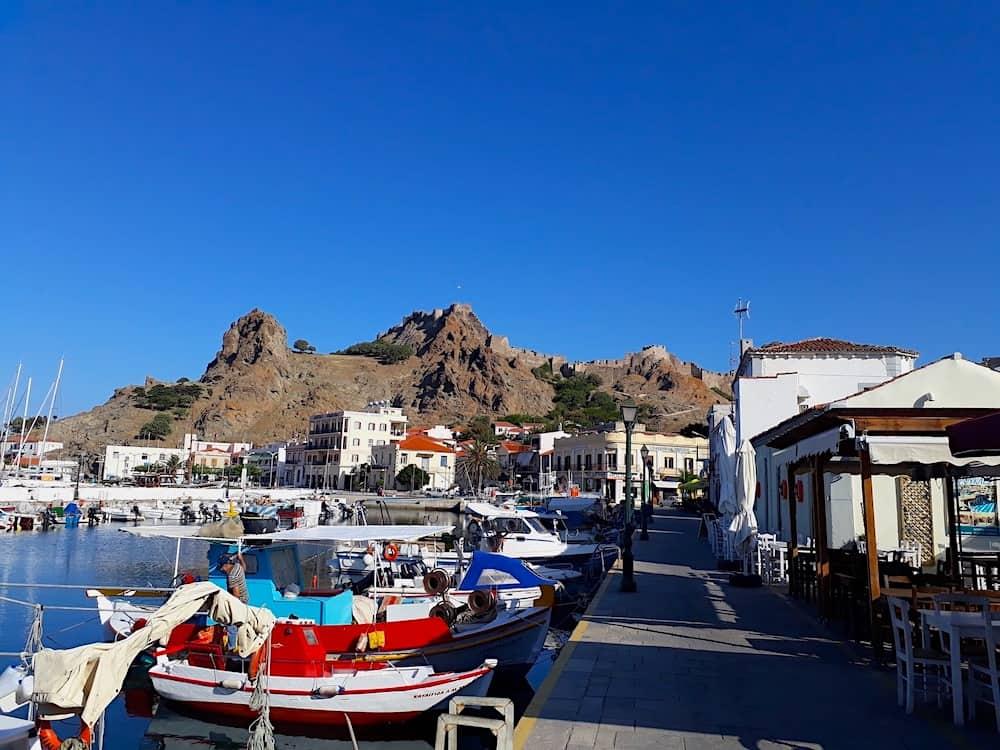 The Myrina waterfront Lemnos, Greece.