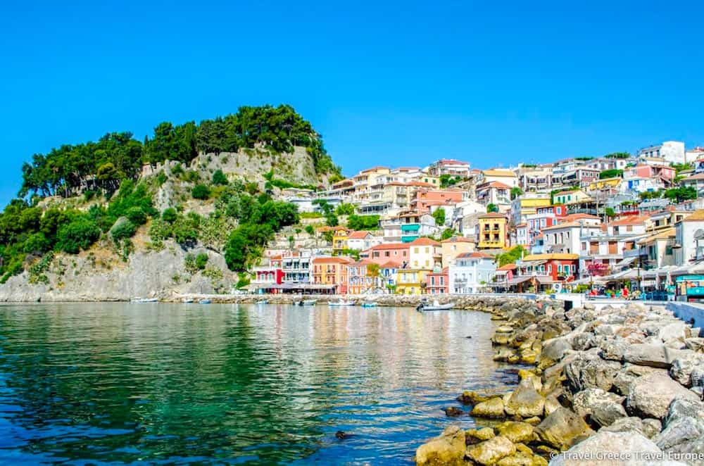 The vibrant homes along the coast in Parga, Greece.